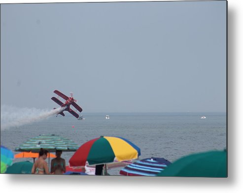 Airplane Metal Print featuring the photograph Bi-plane Fly-by by Robert Banach