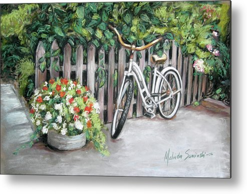 White Bicycle In Garden Courtyard Metal Print featuring the painting Bicycle On Fence by Melinda Saminski