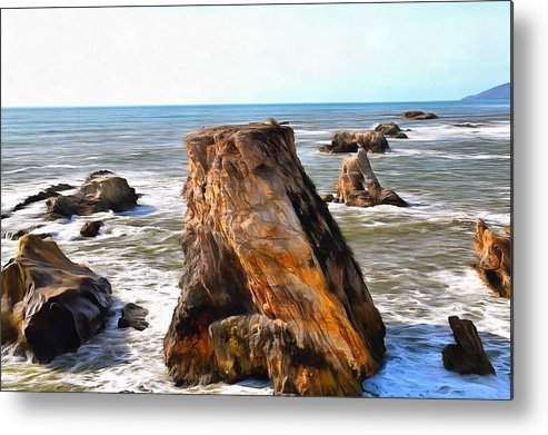 Barbara Snyder Metal Print featuring the photograph Big Rocks In Grey Water Painting by Barbara Snyder