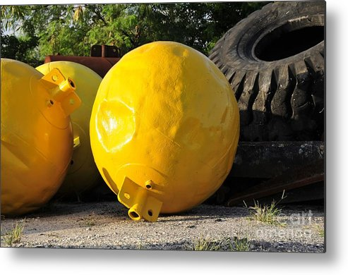 Yellow Metal Print featuring the photograph Big Yellow Balls by David Lee Thompson