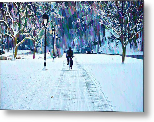 Bike Riding In The Snow Metal Print featuring the photograph Bike Riding In The Snow by Bill Cannon