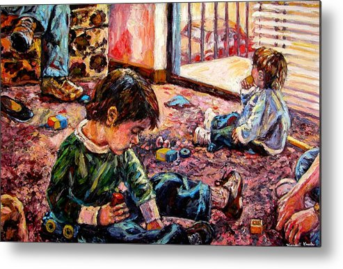 Figure Metal Print featuring the painting Birthday Party Or A Childs View by Kendall Kessler