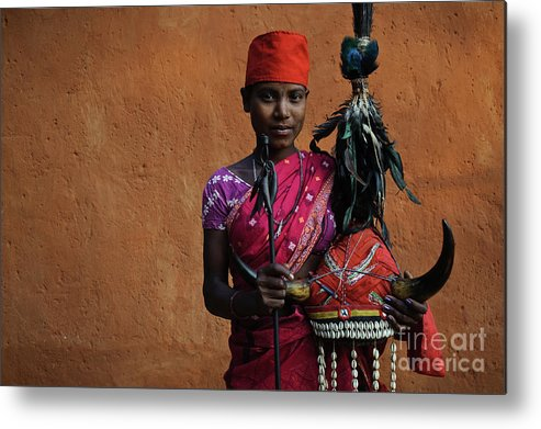 Bison Horn Metal Print featuring the photograph Bison Horn Maria Girl by Franck Metois