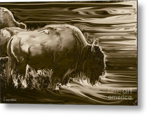 Art Metal Print featuring the photograph Bison ... Montana Art Photo by GiselaSchneider MontanaArtist