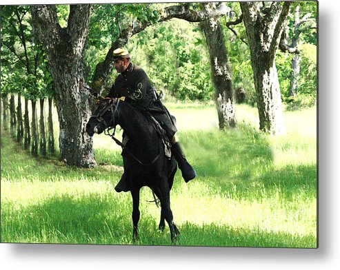 Civil War Re-enactment Metal Print featuring the photograph Black Amongst The Green by Kim Henderson