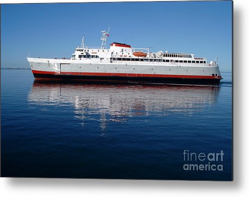 Boat Metal Print featuring the photograph Black Ball Ferry by Larry Keahey