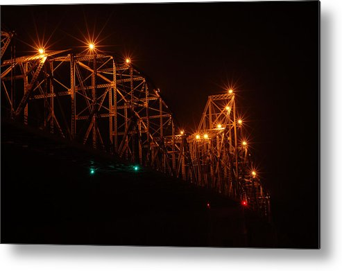 Bridge Metal Print featuring the photograph Black Hawk At Night 2 by Betsy Stahl