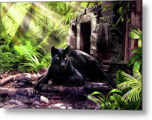 Wildlife Black Panther Oil Painting Metal Print featuring the painting Black Panther Custodian Of Ancient Temple Ruins by Regina Femrite