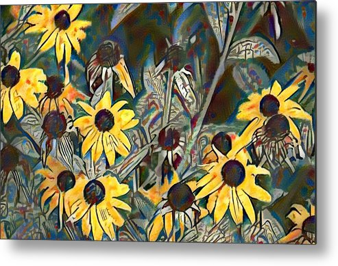 Blackeyed Metal Print featuring the painting Blackeyed Susans Watercolor by Bill Cannon