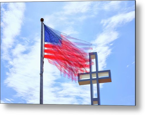 American Flag Metal Print featuring the photograph Bless The Usa by Joseph S Giacalone