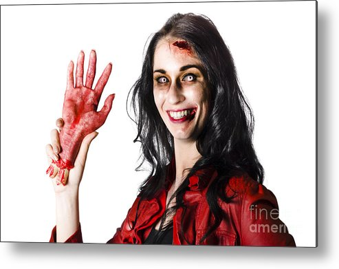 Awful Metal Print featuring the photograph Bloody Zombie Woman With Severed Hand by Jorgo Photography - Wall Art Gallery