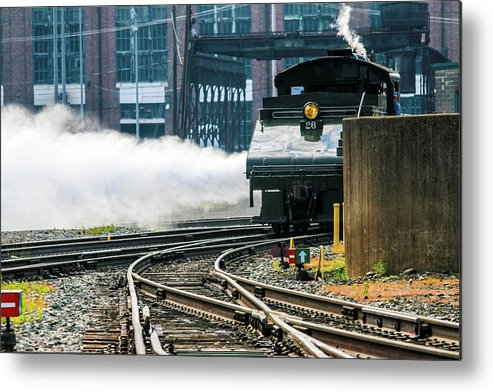 One Of Two Typical Switch Engines In The Steamtown Nhs Collection (the Other Is The Spang Metal Print featuring the photograph blowing off steam Engine 26 Steamtown Historical Site by William Rogers