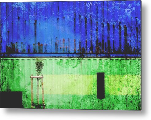 Urban Metal Print featuring the photograph Blue And Green Metallic Shed by Martine Affre Eisenlohr