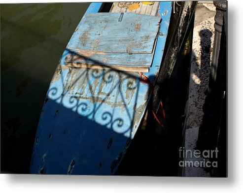 Boat Metal Print featuring the photograph Blue Boat In Venice With Shadow by Michael Henderson