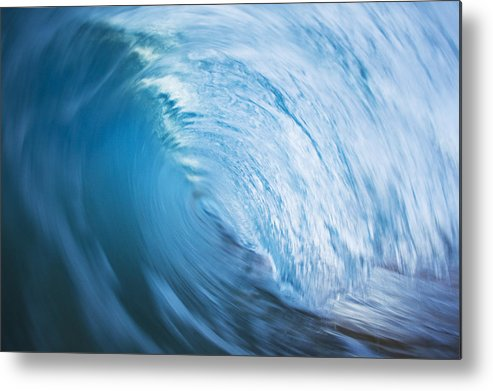 Abstract Metal Print featuring the photograph Blue Wave Tube Blur by MakenaStockMedia
