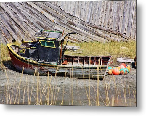 Homer Spit Metal Print featuring the photograph Boat N Buoys by Lori Mahaffey