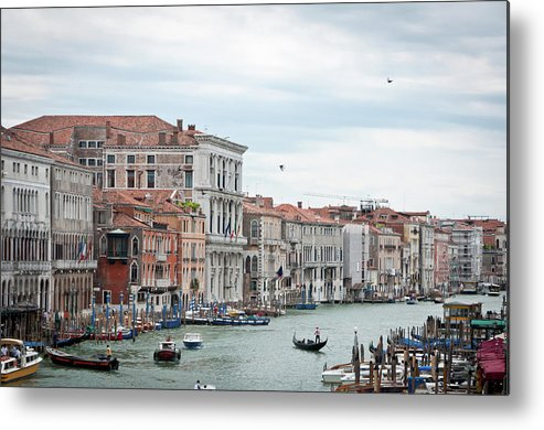 Horizontal Metal Print featuring the photograph Boats And Gondolas In Grand Canal by AlexandraR