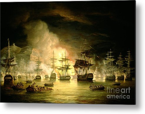 Bombardment Of Algiers Metal Print featuring the painting Bombardment Of Algiers by Thomas Luny