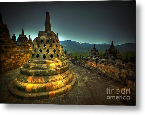 Borobudur Temple Metal Print featuring the photograph Borobudur Temple Central Java by Charuhas Images