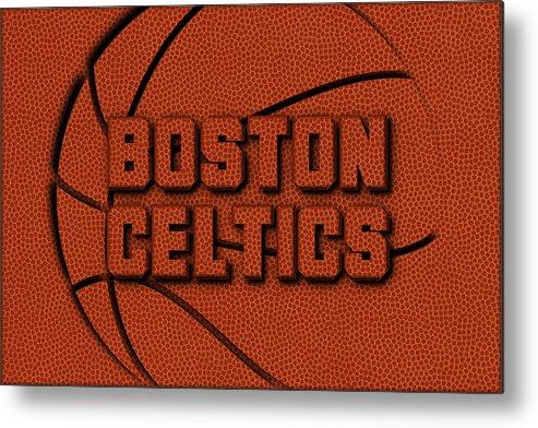 Celtics Metal Print featuring the photograph Boston Celtics Leather Art by Joe Hamilton