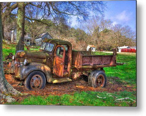 Reid Callaway 1947 Dodge Dump Truck Metal Print featuring the photograph Boswell 1947 Dump Truck Farm Scene by Reid Callaway