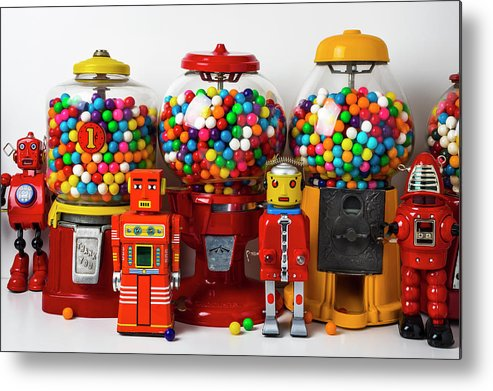 Bubblegum Machine Gum Metal Print featuring the photograph Bots And Bubblegum Machines by Garry Gay