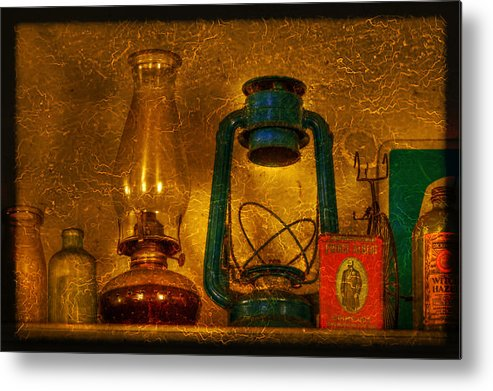 Bottle Metal Print featuring the photograph Bottles And Lamps by Evelina Kremsdorf