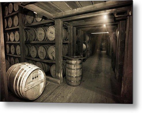 Bourbon Barrels Metal Print featuring the photograph Bourbon Rickhouse by Karen Varnas