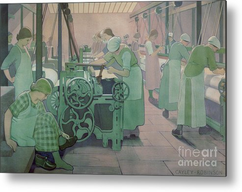 Factory; Twenties; Women; Machinery; Looms; Protective Clothing Metal Print featuring the painting British Industries - Cotton by Frederick Cayley Robinson