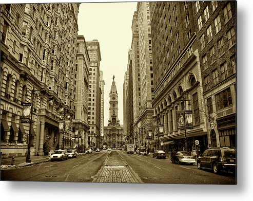 Broad Street Metal Print featuring the photograph Broad Street Facing Philadelphia City Hall In Sepia by Bill Cannon