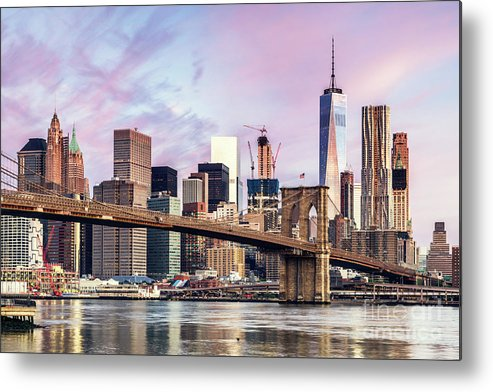 Architecture Metal Print featuring the photograph Brooklyn Bridge And Skyline At Sunrise, New York, Usa by Matteo Colombo