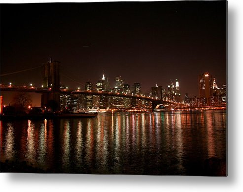 Brooklyn Bridge Metal Print featuring the photograph Brooklyn Bridge At Night by Jason Hochman