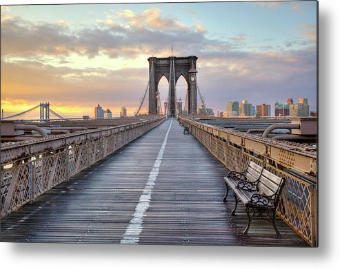 Horizontal Metal Print featuring the photograph Brooklyn Bridge At Sunrise by Anne Strickland Fine Art Photography