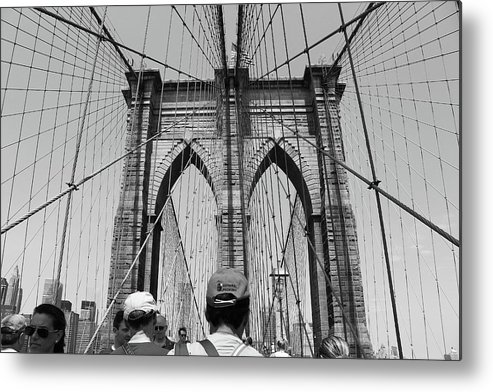 Black And White Metal Print featuring the photograph Brooklyn Bridge In Black And White by Nadia Asfar