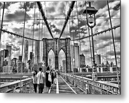 Bridge Metal Print featuring the photograph Brooklyn Bridge Walkway  B And W by Allen Beatty