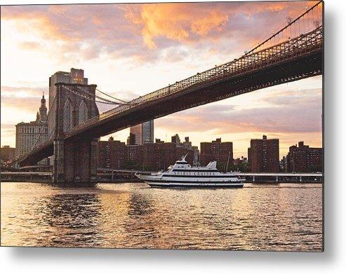 Brooklyn Bridge Metal Print featuring the photograph Broolylyn Bridge At Twilight by Allan Einhorn