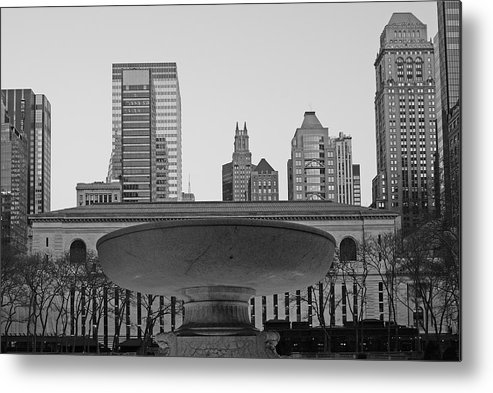 Bryant Park And Public Library Metal Print featuring the photograph Bryant Park by Christian Heeb