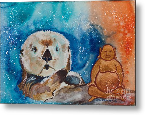 Illsa Millermoon Metal Print featuring the painting Buddha And The Divine Otter No. 1374 by Ilisa Millermoon