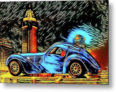 Ettore Bugatti Metal Print featuring the digital art Bugatti Type 57 Atlantic 1930ies by Jean-Louis Glineur alias DeVerviers