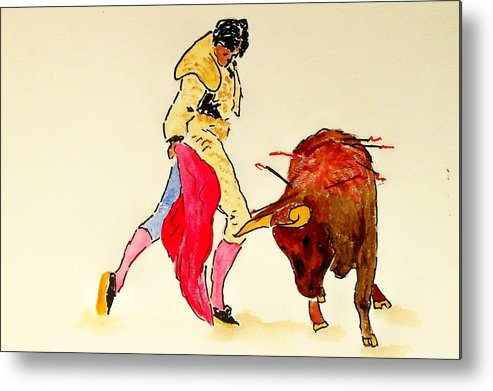 Spain Metal Print featuring the painting Bull Fighter by Leo Gordon