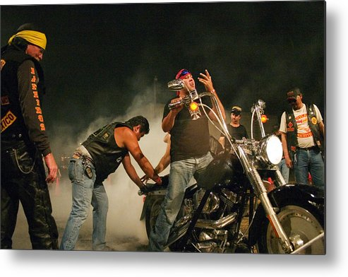 Biker Metal Print featuring the photograph Burn Out by Skip Hunt