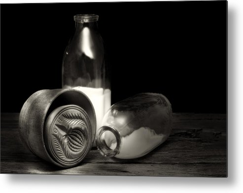 Butter Metal Print featuring the photograph Butter Mold And Milk Bottles by Tom Mc Nemar