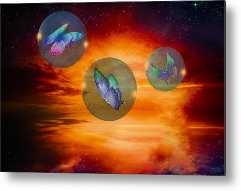 Imagination Metal Print featuring the digital art Butterflies At Night by Anthony Caruso