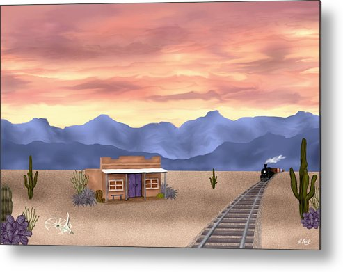 Contemporary Metal Print featuring the painting By The Tracks by Gordon Beck