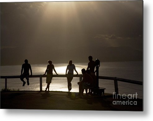 Byron Bay Lighthouse Silhouette Sunset Rays Metal Print featuring the photograph Byron Bay Lighthouse by Sheila Smart Fine Art Photography