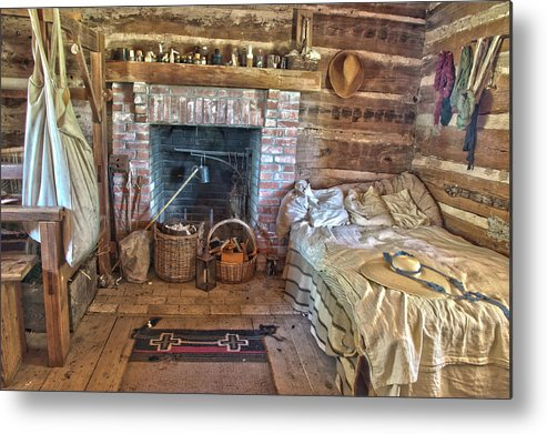 Texas Heritage Metal Print featuring the photograph Cabin Bedroom by James Woody