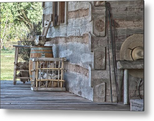 Texas Heritage Metal Print featuring the photograph Cabin Porch1 by James Woody