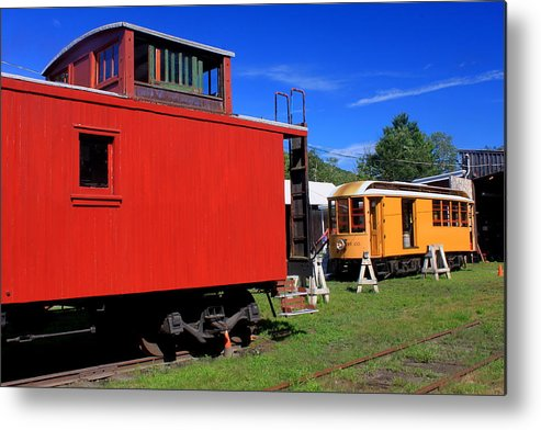 Railroad Metal Print featuring the photograph Caboose At Shelburne Trolley Museum by John Burk