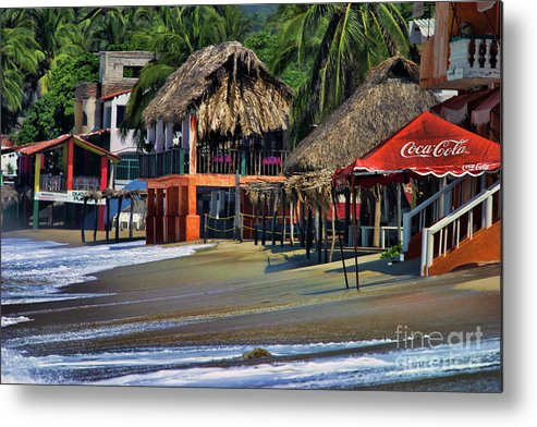 Mexico Metal Print featuring the photograph Cafe Beach Bucerias Mexico by Chuck Kuhn