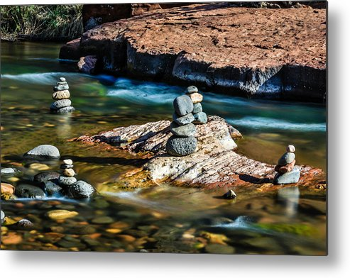 Arizona Metal Print featuring the photograph Cairns In The Creek by Dennis Swena